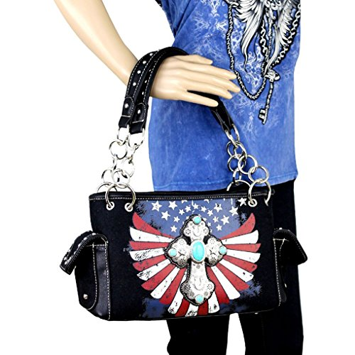 Western Collection West Spiritual Handbag Patriotic Cross Montana Red Satchel q67Pfw55