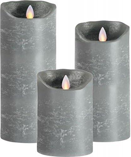 Sompex Flame LED Jeu de 3 bougies en cire véritable Gris 12,5/18/23 cm