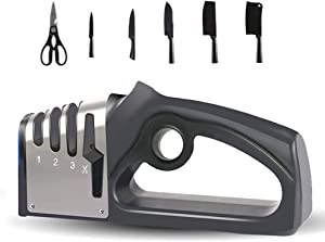 Knife Sharpeners, 4 Stage Knife and Scissor Sharpeners,Kitchen Tools. User-Friendly Handle, Non-Slip Base