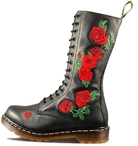 Leather Martens Womens Eyelet Vonda High Knee Black Dr 14 Soft Boots Floral HwdSE8