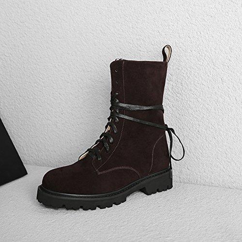 Moda Botines Brown De Q2411 Semicuero De Antideslizante Cuadrado Tacón WSXY Otoño Botas KJJDE Invierno 35 Mujer Equitación OTHwqEnZ