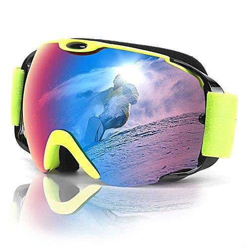 MeeQee Ski Goggles, Snow Sports Goggles Over Glasses for Men & Women, Anti-fog 100% UV Protection Ski Glasses Helmet Compatible Snowboard Goggles with Detachable Lens & Strap - Brown REVO - Sport Glasses Over Goggles