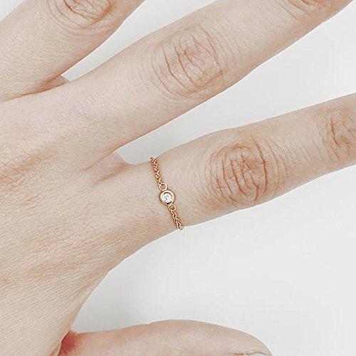 Natural Diamond Set Bezel Chain Ring, Brilliant Cut Diamond Minimalist Ring, 14K Solid Gold Chain Diamond Ring by JSVConcept