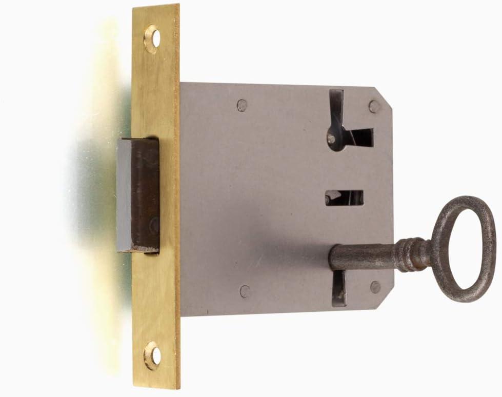Antikas Furniture Lock with Iron Key Mortice Lock with Brass Cuff Pin 50 R//L