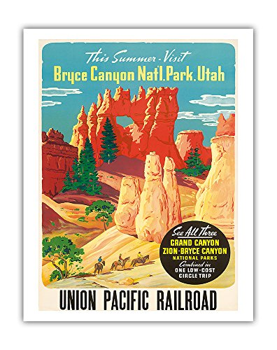 (This Summer Visit Bryce Canyon Nat'l. Park Utah - See All Three: Grand Canyon, Zion, Bryce National Parks - Union Pacific Railroad - Vintage World Travel Poster c.1935 - Fine Art Print - 11in x 14in)
