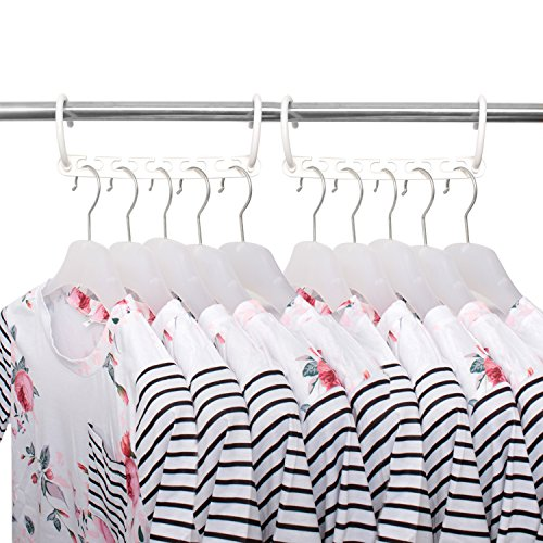 Clothing Hanger Organizer, IUNIQEE 8 Pack White Closet Space Saver Effortless Wrinkle-free Clothes Plastic Magical Cascading Hangers 5x Space Saving Solution for Your Closet