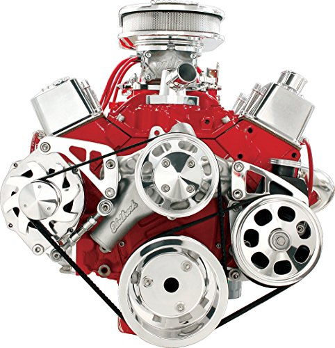 Serpentine Pulley Conversion Kits - NEW BILLET SPECIALTIES SMALL BLOCK CHEVY POLISHED FRONT ENGINE SERPENTINE CONVERSION KIT WITH KEYWAY POWER STEERING PUMP PULLEY & BRACKET, MIDDLE PASSENGER-SIDE ALTERNATOR MOUNTING BRACKET, SBC WATER PUMP, CRANK, & ALTERNATOR PULLEYS