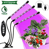 Plant Grow Light, SOLMORE Grow Light for Indoor Plants, Auto ON & Off with 3/6/12H Timer, 4 Dimmable Levels, 3-Heads Adjustable Gooseneck 27W 54 LED Grow Lamp for Indoor Plants [Upgraded Switch]