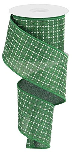 Patty Pink Ribbon - Emerald Green White Raised Stitched Squares Wired Ribbon (2.5 Inches x 10 Yards)
