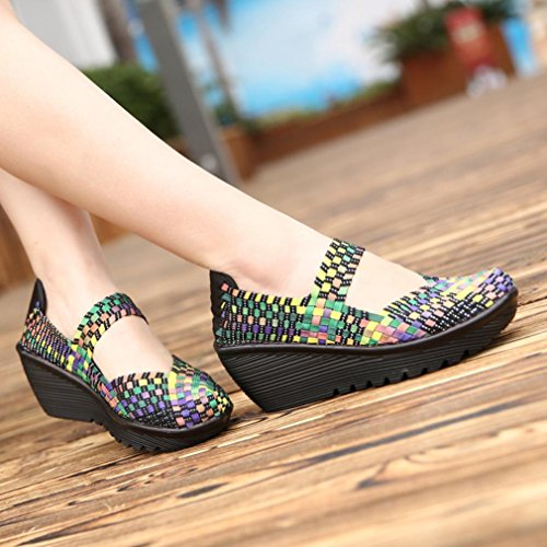 Mocasines Sandalias Mujer Deportivo Zapatos Multicolor Otoño Elástico de no Tejidos Transpirable de Calzado Alpargatas Merceditas YIYqwOr