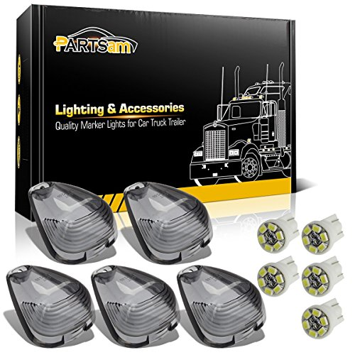 Partsam 5x Smoked Roof Running Light Cab Marker Cover Lens + 5x T10 6-3020-SMD White LED Bulb for 1999 - 2016 Ford F150 F250 F350 F450 F550 E150 E250 E350 E450 E550 05 Ford F150 Super Cab