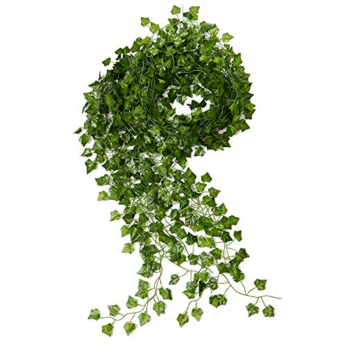 (ARTIFICIAL SILK IVY DECOR - Fake Garland 12 pack, 84 ft Green Leaf Vines Wedding Party Foliage - Kitchen Plant Greenery - DIY Home Office Spring Floral - Outdoor Gardens Leafy Garland)