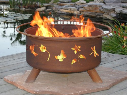 Patina fire pit flower and garden 31 inch best fire pits for Flower fire pit