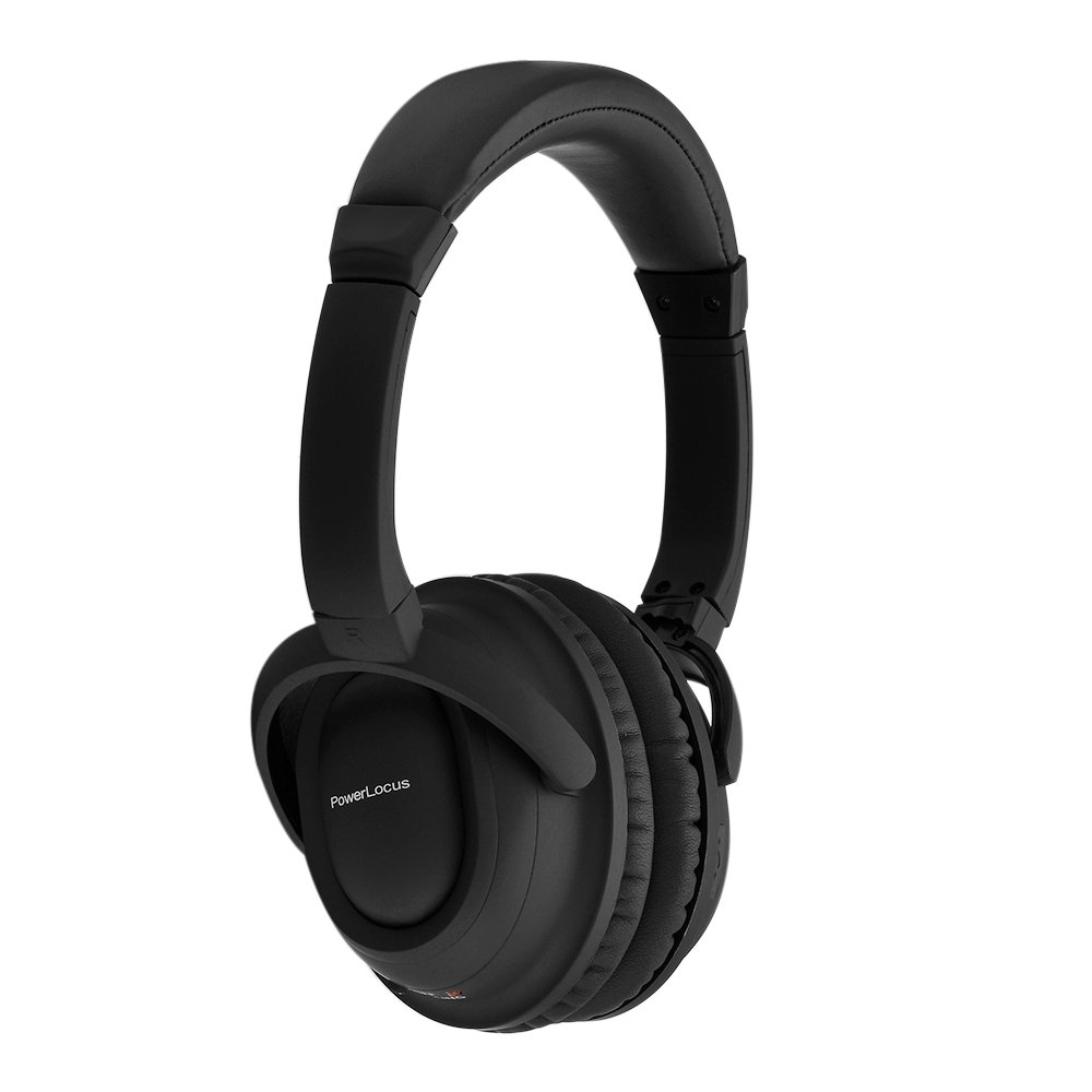 PowerLocus Wireless Active Noise Cancelling Bluetooth Over-Ear Stereo Headphones, Wired Headsets with Built-in Microphone and Volume control for iPhone, Samsung, LG, iPad