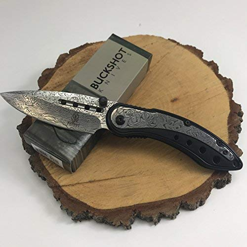 - Buckshot Knives Thumb Open Spring Assisted Color Damascus Etched Stainless Steel Handle W/Damascus Etched Blade Pocket Knife (PBK207BK)