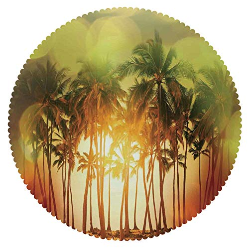 Beautiful Round Tablecloth [ Ocean,Mystical Illustration of Tropical Palm Coconut Trees in Gradient Digital Color Print,Green Orange Red ] Fabric Home Set