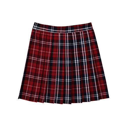Women School Uniforms plaid Pleated Mini Skirt, Waist(68.5cm/27inch) M, Bright Red