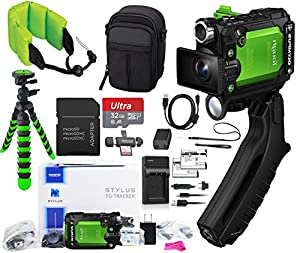 Olympus Stylus Tough TG-Tracker Wifi Action Camera (Green) + 32GB MicroSD Memory Card + Floating Strap + Case + Travel Charger + EXTRA Battery + DigitalUniverse Cleaning Cloth + MUCH MORE!!