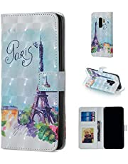 Glitter Wallet Case for Samsung Galaxy S9 and Screen Protector,QFFUN Bling 3D Pattern Design [Tower] Magnetic Stand Leather Phone Case with Card Holder Drop Protection Etui Bumper Flip Cover