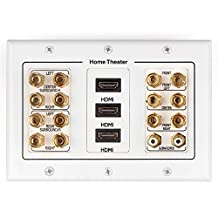 TNP Home Theater Wall Plate - 3-Gang 7.2 Surround Sound Distribution w/ Premium Gold Plated Copper Banana Binding Post Coupler for 7 Speakers, 2 RCA Jack for Subwoofer, 3 HDMI Port for UHD 4K HD 1080P