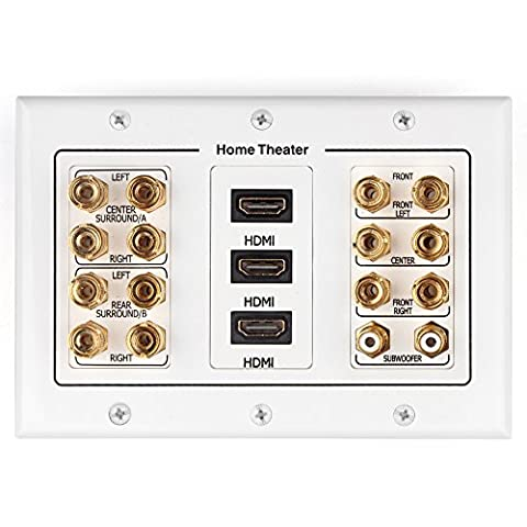 TNP Home Theater Wall Plate - 3-Gang 7.2 Surround Sound Distribution w/ Premium Gold Plated Copper Banana Binding Post Coupler for 7 Speakers, 2 RCA Jack for Subwoofer, 3 HDMI Port for UHD 4K HD (Bar Speakers For Tv Boss)
