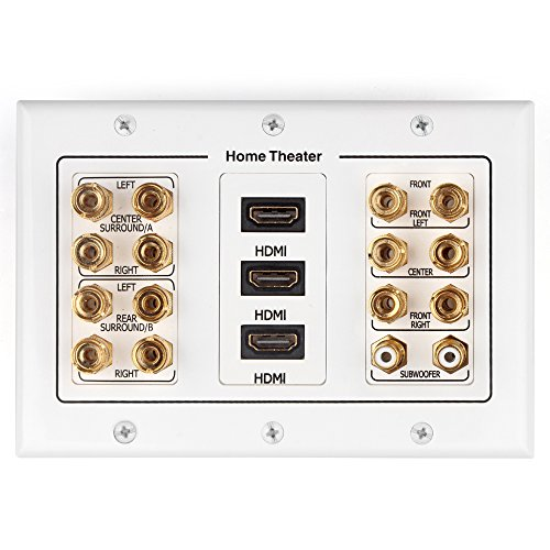 TNP Home Theater Wall Plate - 3-Gang 7.2 Surround Sound Distribution w/ Premium Gold Plated Copper Banana Binding Post Coupler for 7 Speakers, 2 RCA Jack for Subwoofer, 3 HDMI Port for UHD 4K HD 1080P (Ceiling Mount Portable Dvd Player)