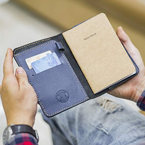 LOLHANDMADE Premium Pigmented Navy Leather Field Notes Cover 3.5