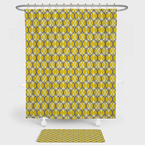 (iPrint Ikat Decor Shower Curtain And Floor Mat Combination Set Ancient Ethnic Traditional Ikat Patterns Indonesian Cloud Style Decorative Motifs For decoration and daily use Yellow Grey White)