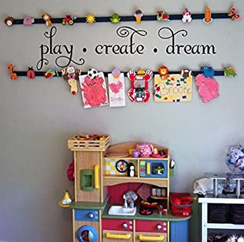 Play Create Dream Childrenu0027s Nursery Wall Quote 40u0026quot; W by 10u0026quot; H Wall & Amazon.com: Play Create Dream Childrenu0027s Nursery Wall Quote 40