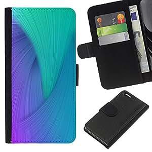KLONGSHOP // Tirón de la caja Cartera de cuero con ranuras para tarjetas - Remolino azul púrpura del trullo del pavo real colorido - Apple Iphone 5C //