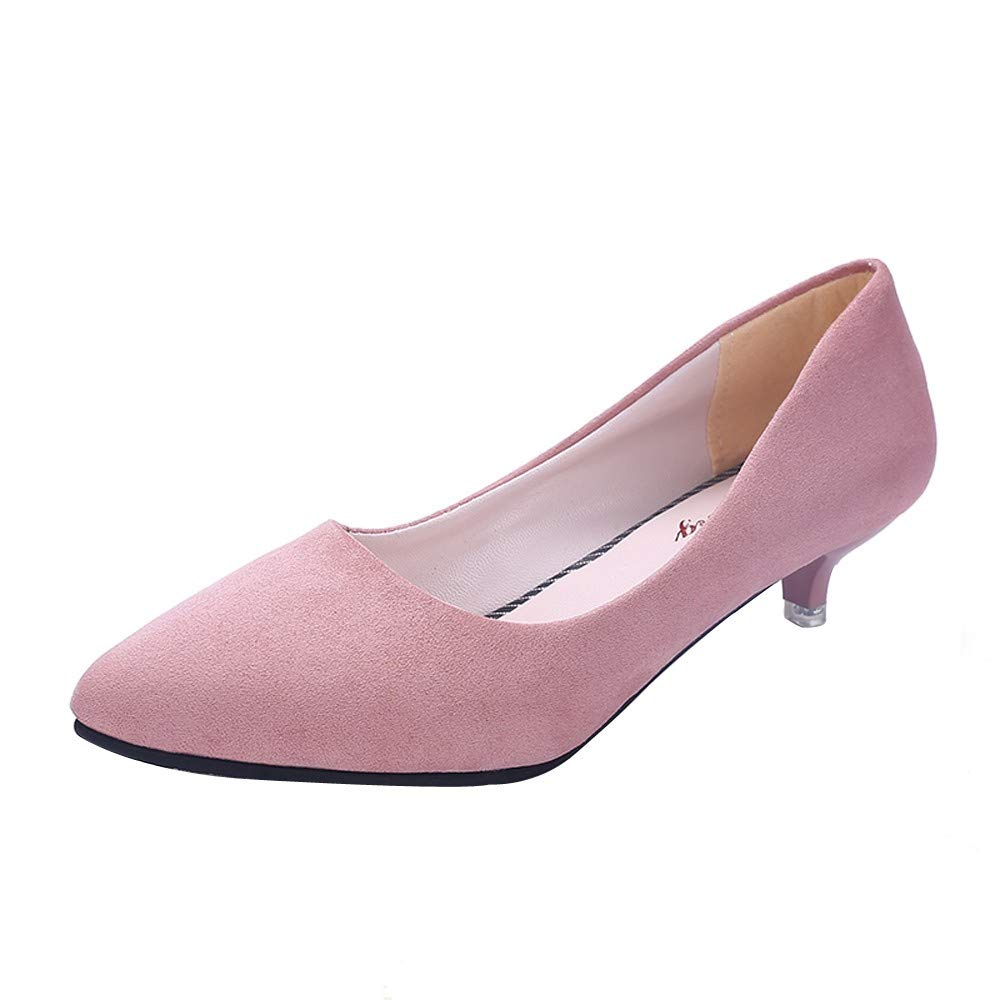 Womens Casual Shoes,Fashion Ladies Comfy Wild Nude Shallow Med Heel Shoes Pointed Toe Work Single Shoes Dress Shoes