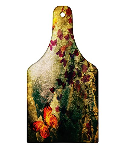 Butterfly Meadow Design Wine Glass - Lunarable Butterfly Cutting Board, Vintage Inspired Burnt Murk Design with Poppy Flowers on Meadow Retro Old Style, Decorative Tempered Glass Cutting and Serving Board, Wine Bottle Shape, Multicolor
