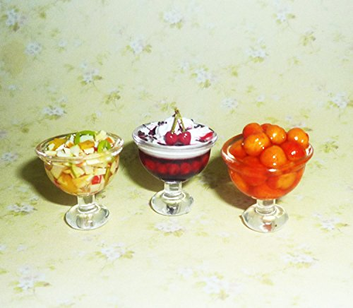 Desserts, ice cream, jelly, candy, cream, sweet table,peaches, fruit salad. (3 pieces) Dollhouse miniature 1:12