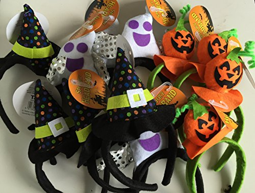 Halloween Hairband Assorted Designs pack of 3 Pumpkin, Gost With wings & Witch -