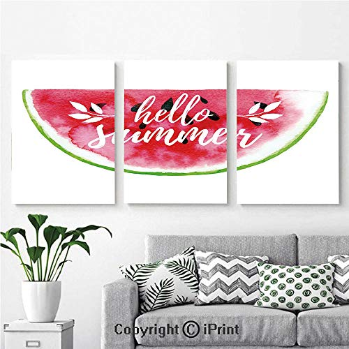 Wall Art Decor 3 Pcs High Definition Printing Watercolor Watermelon Figure with Hello Summer Motivation Quote Paint Print Painting Home Decoration Living Room Bedroom Background,16