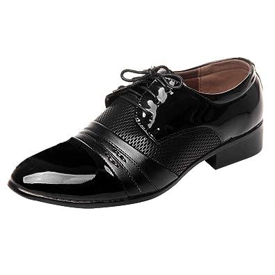 67b6cd060dc78 uirend Cuir Chaussures Homme - Chaussure de Ville à Lacets Mariage Dressing  Business Uniforme Derby Oxford Chaussure Vernis Brogue Vintage Mode Noir   ...