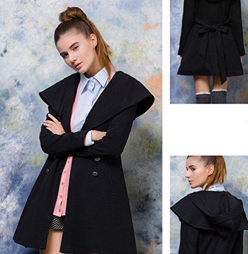 Baymate Mujer Chaqueta Parka Con Capucha Trench Coat Rompevientos Con Cinturones Negro