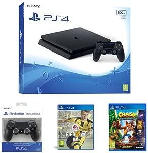 PS4 Slim 500 GB + DS4 Negro + FIFA 17 + Crash: Amazon.es: Videojuegos