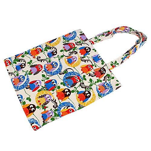 Caixia Women's Cotton Colorful Owl Print Canvas Tote Shopping Bag (Colorful Bird/Zip ()