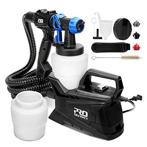 Paint Sprayer, PROSTORMER High Power HVLP Spray Gun with 2Pcs 1000ml Detachable Containers, 3 Adjustable Spray Patterns and 3 Nozzle Sizes - Ideal for Home Indoor & Outdoor Painting