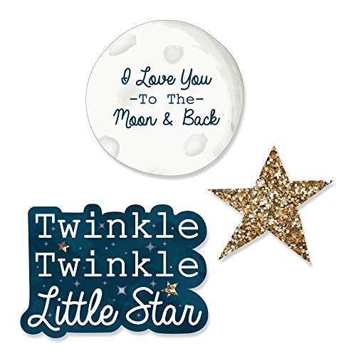 Twinkle Twinkle Little Star - DIY Shaped Baby Shower or Birthday Party Cut-Outs - 24 - Shaped Glitter Star