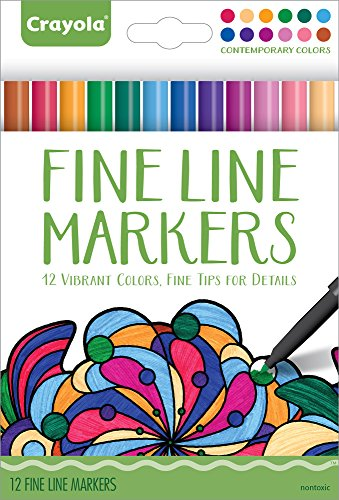 Crayola Aged Up Adult Coloring 12ct Fine Line Markers, Conte