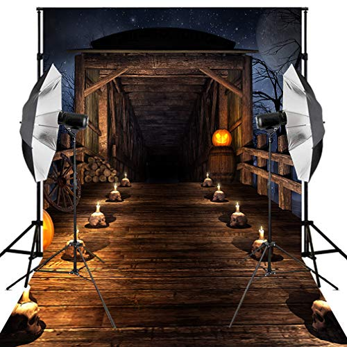 Kooer 6x9ft Halloween Backdrops Parties Decoration Horror Ghost Wood Bridge Wheel Scary Night Trees Pumpkin Candle Skull Head Photography Background Bats Studio (6x9ft, Halloween Backdrop 2)