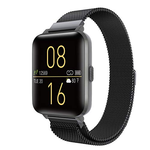 Kalakate Smart Watch for Android iOS Phones, IP68 Waterproof Sport Watch for Men Women, Fitness Smartwatch with Heart Rate Monitor Sleep Tracker, 1.54″ Full-Touch Screen, Black Stainless Steel Band