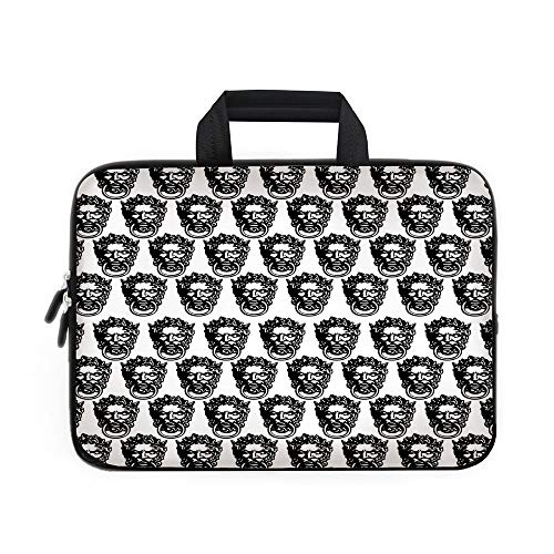 Black and White Laptop Carrying Bag Sleeve,Neoprene Sleeve Case/Monochrome Medieval Knocker Old Antique Figure Head Cartouche Gothic Theme/for Apple Macbook Air Samsung Google Acer HP DELL Lenovo Asus