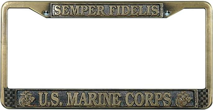 MARINES USMC COMBAT RED Black Metal Bike Motorcycle License Plate Frame Tag