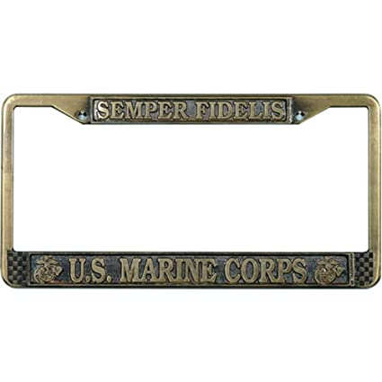 Amazoncom Us Marines License Plate Frame Antique Brass Plated