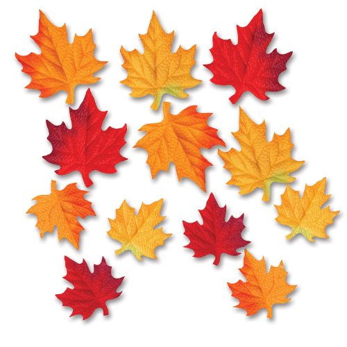 Beistle 12-Pack Deluxe Fabric Autumn Leaves Decorative Cutouts, 3-1/2 by 4-3/4-Inch