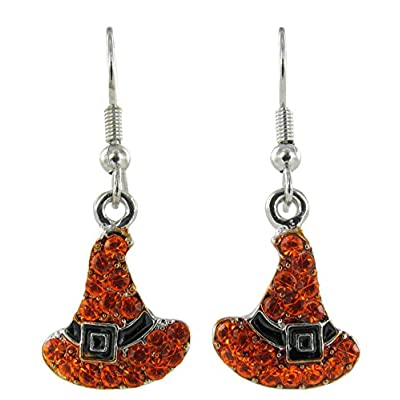 Witch's Hats Rhinestone Fish Hook Earrings with Orange Crystals and Black Enamel for cheap