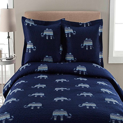 C&U 3 Piece Indigo White Whimsical Elephant Printed Quilt King Set, Dark Blue Milk White Animal Zoo Jungle Safari Bohemian Teen Themed Kids Bedding for Bedroom Trendy, Polyester Microfibre by C&U
